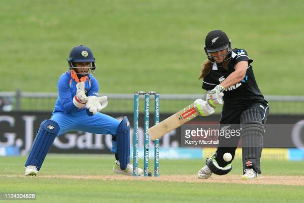 Amelia Kerr of New Zealand bats during game one of the One Day International Series between New Zealand White Ferns and India at McLean Park on...