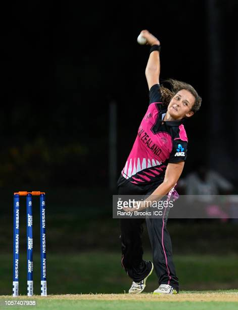 Amelia Kerr of New Zealand bowling during a warmup match at Coolidge Cricket Ground on November 4 2018 in Coolidge Antigua and Barbuda