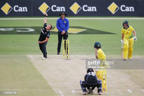 Amelia Kerr of New Zealand bowls during game three of the One Day International Series between Australia and New Zealand at Junction Oval on March 03...