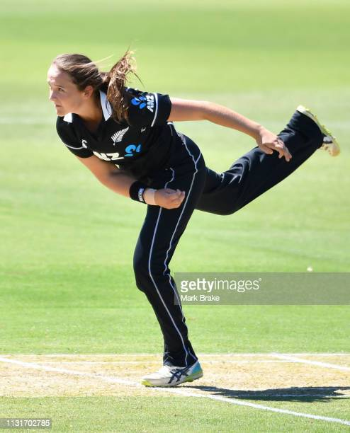 Amelia Kerr of New Zealand bowls during game two of the One Day International Series between Australia and New Zealand at Karen Rolton Oval on...