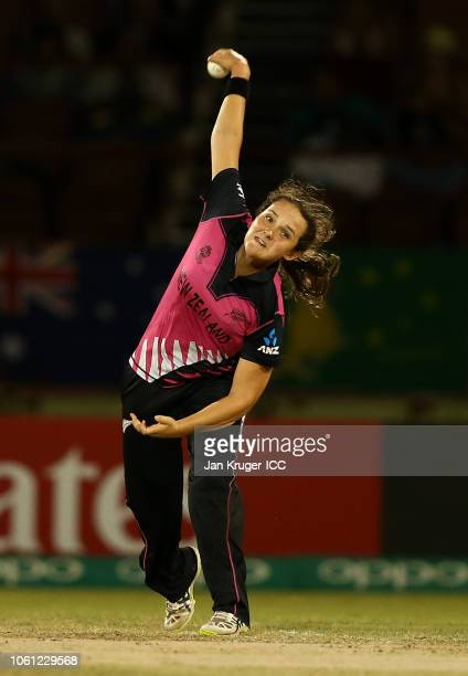 Amelia Kerr of New Zealand bowls during the ICC Women's World T20 2018 match between Australia and New Zealand at Guyana National Stadium on November...