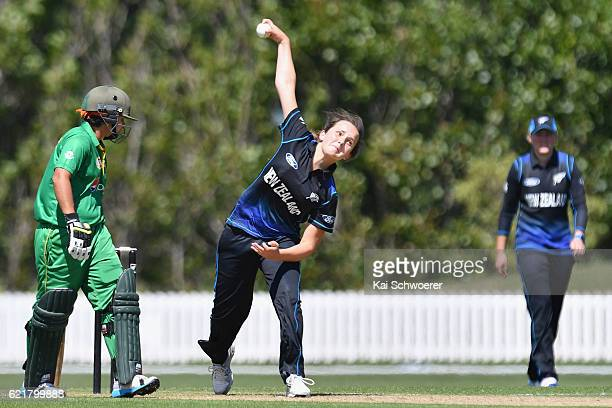 Amelia Kerr of New Zealand bowls during the Women's One Day International match between the New Zealand White Ferns and Pakistan on November 9 2016...