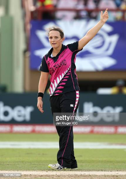 Amelia Kerr of New Zealand celebrates a wicket during the ICC Women's World T20 2018 match between New Zealand and Ireland at Guyana National Stadium...