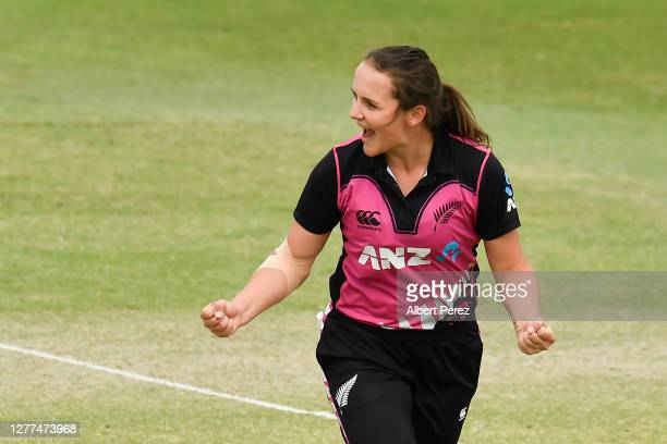 Amelia Kerr of New Zealand celebrates after Rachael Haynes of Australia was caught out by Amy Satterthwaite during game three of the T20...