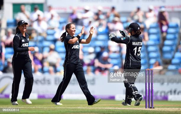 Amelia Kerr of New Zealand celebrates getting a wicket during the 1st ODI ICC Women's Championship match between England Women and New Zealand at...