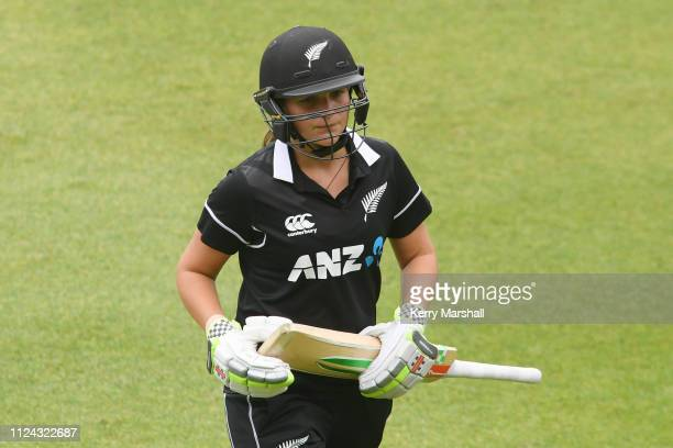 Amelia Kerr of New Zealand during game one of the One Day International Series between New Zealand White Ferns and India at McLean Park on January 24...