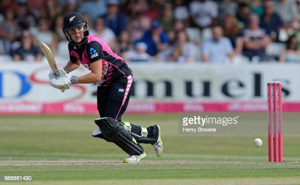 Amelia Kerr of New Zealand during the International T20 TriSeries Final between England and New Zealand at Cloudfm County Ground on July 1 2018 in...