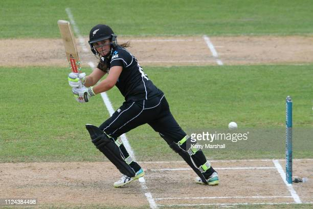 Amelia Kerr of New Zealand plays a shot during game one of the One Day International Series between New Zealand White Ferns and India at McLean Park...