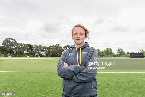 Amelia Kerr of New Zealand poses following her international debut in the Women's One Day International match between the New Zealand White Ferns and...