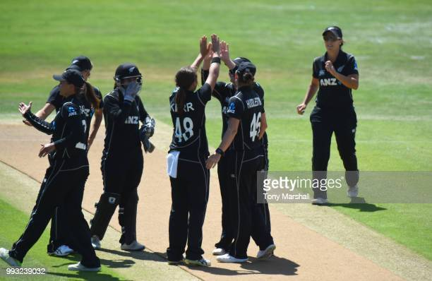 Amelia Kerr of New Zealand Women celebrates taking the wicket of Amy Jones of England during the 1st ODI ICC Women's Championship between England...