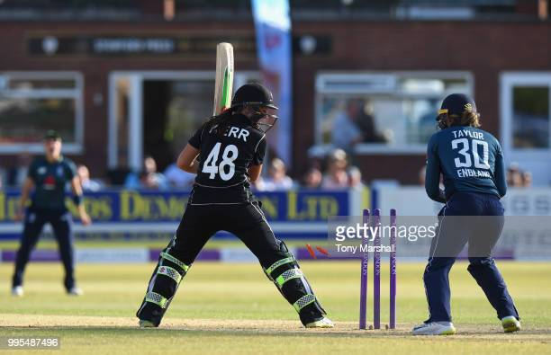 Amelia Kerr of New Zealand Women is bowled out by Sophie Ecclestone of England Women during the 2nd ODI ICC Women's Championship between England...