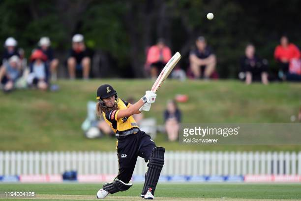 Amelia Kerr of the Blaze bats during the Women's T20 match between the Canterbury Magicians and Wellington Blaze at Hagley Oval on December 15 2019...