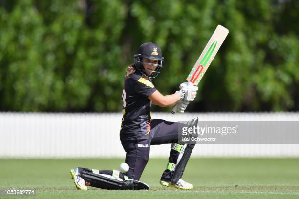Amelia Kerr of the Blaze bats during the Women's T20 Super Smash match between Wellington Blaze and Northern Spirit on October 26 2018 in Lincoln New...