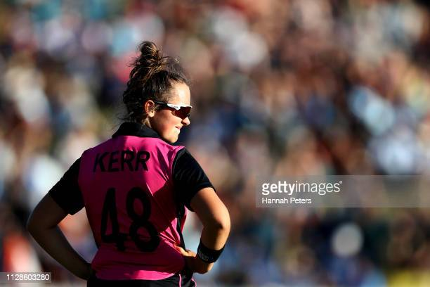 Amelia Kerr of the White Ferns looks on during the Women's International T20 Game 3 between New Zealand and India at Seddon Park on February 10 2019...