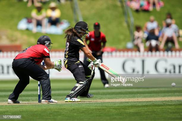 Amelia Kerr of Wellington bats during the Super Smash T20 match between the Wellington Blaze and the Canterbury Magicians at Basin Reserve on January...