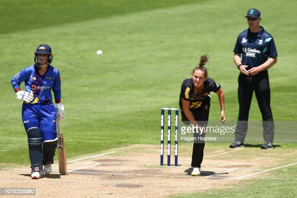 Amelia Kerr of Wellington bowls during the T20 match between the Wellington Blaze and the Otago Sparks at Basin Reserve on December 28 2018 in...