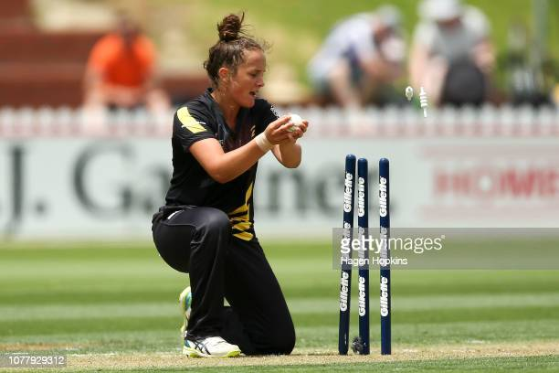Amelia Kerr of Wellington takes a wicket to dismiss Kirsty Nation of Canterbury during the Super Smash T20 match between the Wellington Blaze and the...