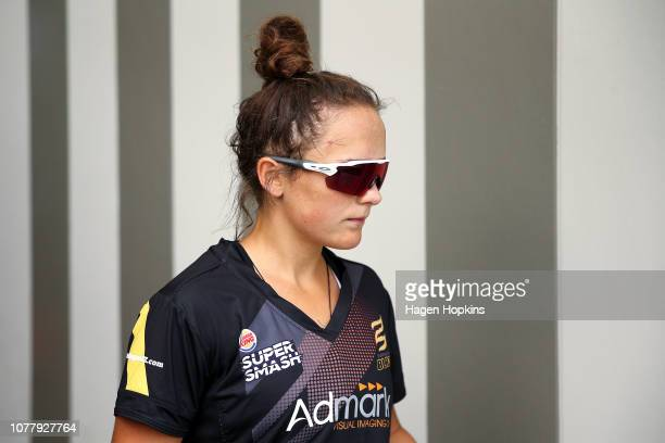 Amelia Kerr of Wellington takes the field during the Super Smash T20 match between the Wellington Blaze and the Canterbury Magicians at Basin Reserve...