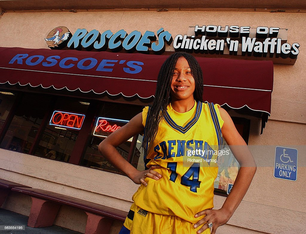 Amelia Landreth in front of Roscoe's Chicken 'n Waffles, Tuesday afternoon in L.A. A junior at Crens : News Photo