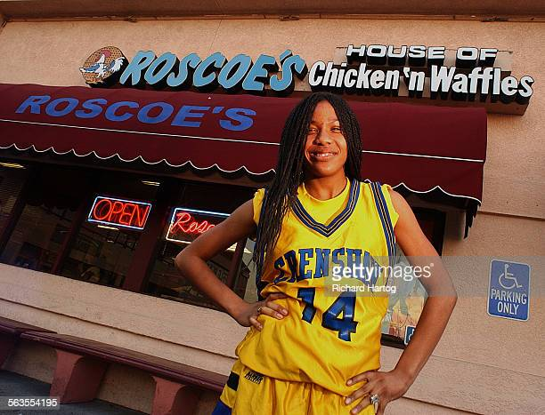Amelia Landreth in front of Roscoe's Chicken 'n Waffles Tuesday afternoon in LA A junior at Crenshaw High she helped land a $5000 sponsorship for the...