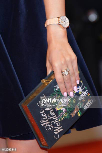 Amelia Liana bag detail walks the red carpet ahead of the 'Three Billboards Outside Ebbing Missouri' screening during the 74th Venice Film Festival...