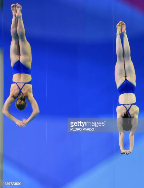 Amelia Magana and Delaney Schnell compete in the Women's 10m Synchronised Platform final of the Diving competition, during the Lima 2019 Pan-American...