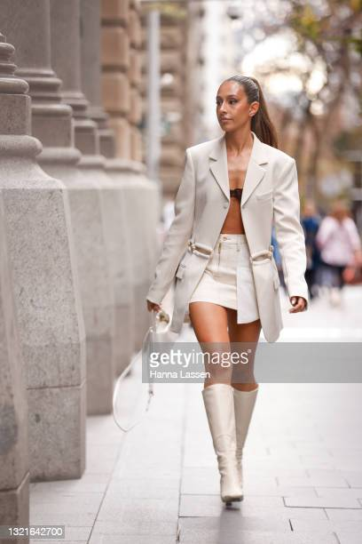 Amelia Marni wearing Dion Lee jacket, Dion Lee shirt and Isa Boulder bralette at Afterpay Australian Fashion Week 2021 on June 04, 2021 in Sydney,...