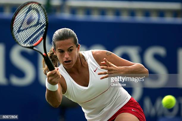 Amelia Mauresmo of France in action during her semifinal match against Daniela Hantuchova of Slovakia in the Hastings Direct International Tennis...