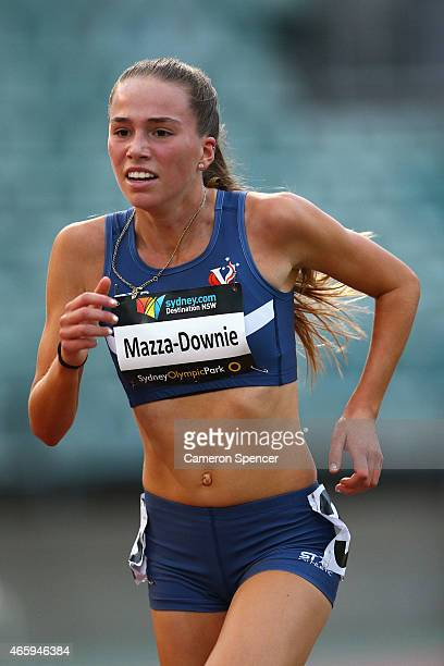 Amelia MazzaDownie of Victoria competes in the womens U18 3000m during the Australian Junior Athletics Championships at Sydney Olympic Park on March...