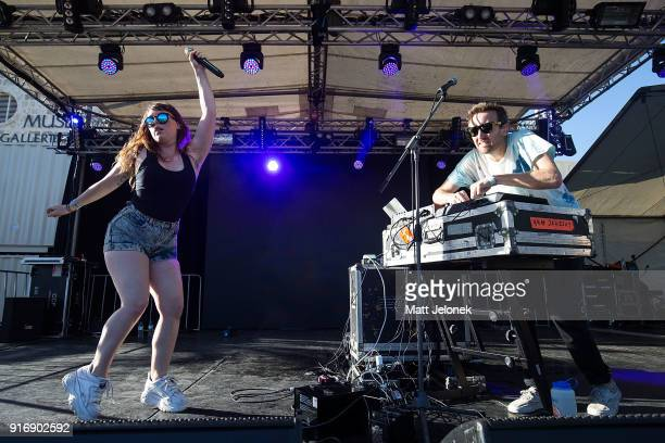 Amelia Meath and Nick Sanborn from Sylvan Esso perform on stage at St Jerome's Laneway Festival on February 11 2018 in Fremantle Australia