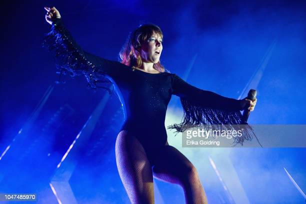Amelia Meath of Sylvan Esso performs on day 3 of Austin City Limits Festival at Zilker Park on October 7 2018 in Austin Texas
