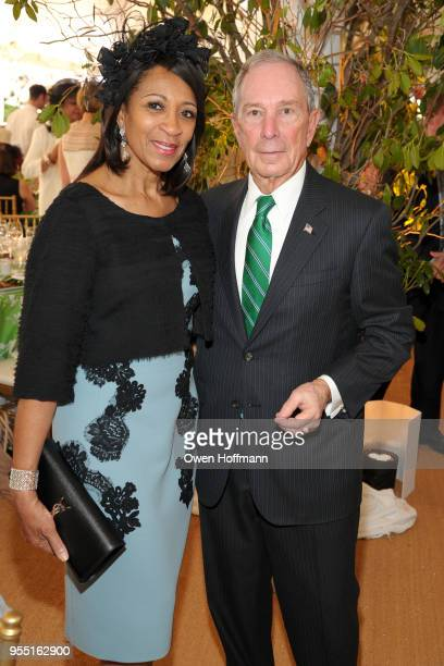 Amelia Ogunlesi and Michael Bloomberg attend 36th Annual Frederick Law Olmsted Awards Luncheon Central Park Conservancy at The Conservatory Garden in...