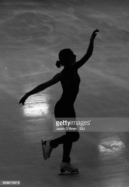 Amelia Scarlett Jackson of Australia warms up performs during the ISU Junior Grand Prix of Figure Skating at on August 25, 2017 in Brisbane,...