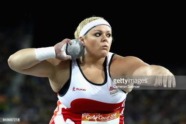 Amelia Strickler of England competes in the Women's Shot Put final during athletics on day nine of the Gold Coast 2018 Commonwealth Games at Carrara...