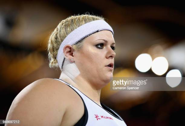 Amelia Strickler of England looks on as she competes in the Women's Shot Put final during athletics on day nine of the Gold Coast 2018 Commonwealth...