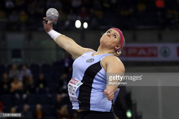 Amelia Strickler of Great Britain competes in the Women's Shot Put during SPAR British Athletics Indoor Championships at Emirates Arena on February...