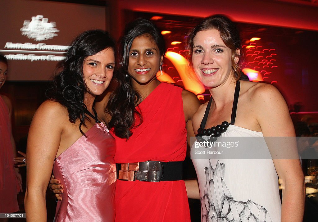 Amelia Todhunter and Hayley Moffat of the West Coast Waves and Chantella Perera (C) of the Bendigo Spirit attend the 2013 Basketball Australia MVP Awards at Crown Palladium on March 24, 2013 in Melbourne, Australia.