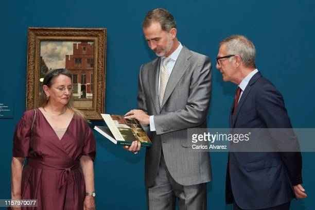 Amelia Valcarcel King Felipe VI of Spain and Spanish culture minister Jose Guirao inaugurate 'Velazquez Rembrandt Vermeer Miradas Afines' exhibition...