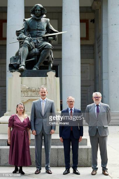 Amelia Valcarcel King Felipe VI of Spain Spanish culture minister Jose Guirao and El Prado Museum director Miguel Falomir inaugurate 'Velazquez...