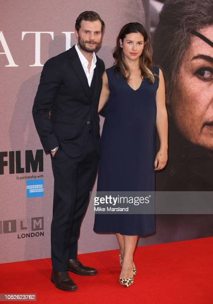 Amelia Warner and Jamie Dornan attend the European Premiere of 'A Private War' Mayor of London gala during the 62nd BFI London Film Festival on...