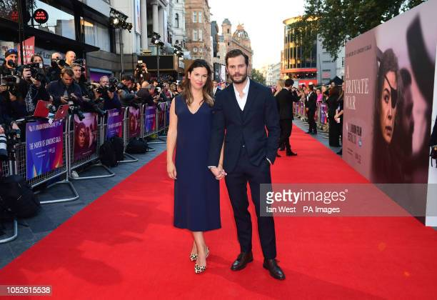 Amelia Warner and Jamie Dornan attending the A Private War Premiere as part of the BFI London Film Festival at the Cineworld Cinema in London