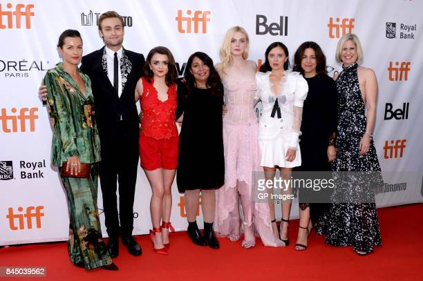 Amelia Warner Douglas Booth Maisie Williams Haifaa AlMansour Elle Fanning Bel Powley Joannie Burstein and Emma Jensen attend the Mary Shelley...