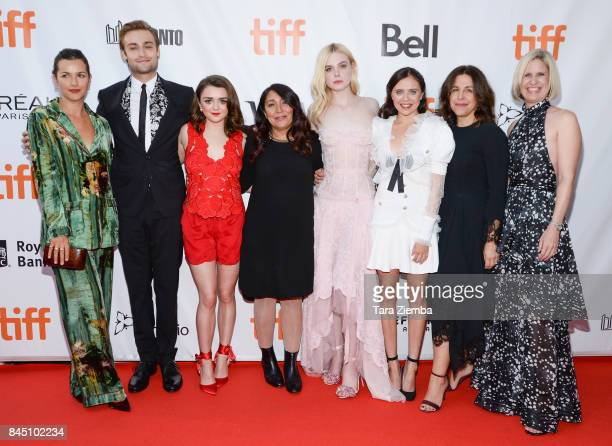 Amelia Warner Douglas Booth Maisie Williams Haifaa AlMansour Elle Fanning Bel Powley Joannie Burstein and Emma Jensen attend the 'Mary Shelley'...
