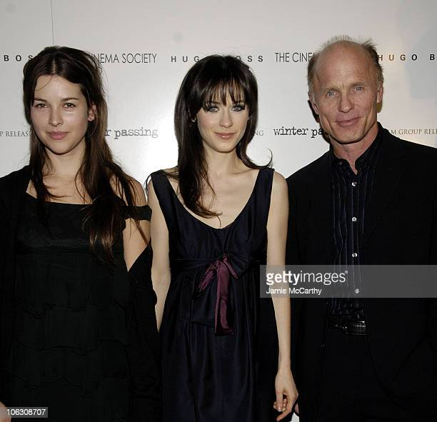 Amelia Warner Zooey Deschanel and Ed Harris at the Cinema Society/Hugo Boss screening of Winter Passing at the Tribeca Grand