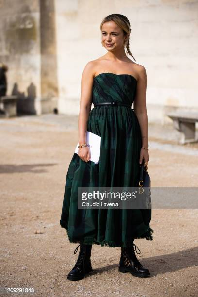 Amelia Windsor wearing a green checked dress Dior bag and black boots is seen outside Dior during Paris Fashion Week Womenswear Fall/Winter 2020/2021...