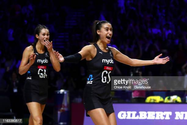 Ameliaranne Ekenasio and Maria Folau of New Zealand celebrate after winning the Final of The Vitality Netball World Cup between New Zealand and...