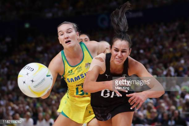 Ameliaranne Ekenasio of New Zealand is challenged by Courtney Bruce of Australia during the 2019 Constellation Cup match between the Australian...