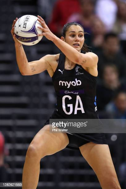 Ameliaranne Ekenasio of New Zealand takes a pass during game 1 of the Cadbury Netball Series between the New Zealand Silver Ferns and the England...