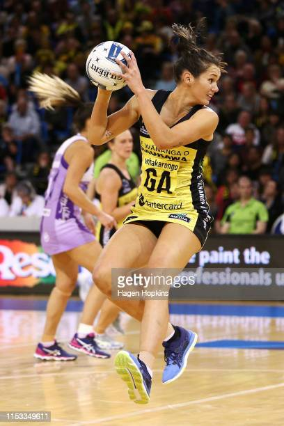 Ameliaranne Ekenasio of the Pulse receives a pass during the ANZ Premiership Netball Final between the Pulse and the Stars at Te Rauparaha Arena on...