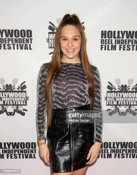 Amelie Anstett arrives at A Dark Foe Film Premiere on February 15 2020 in Los Angeles California